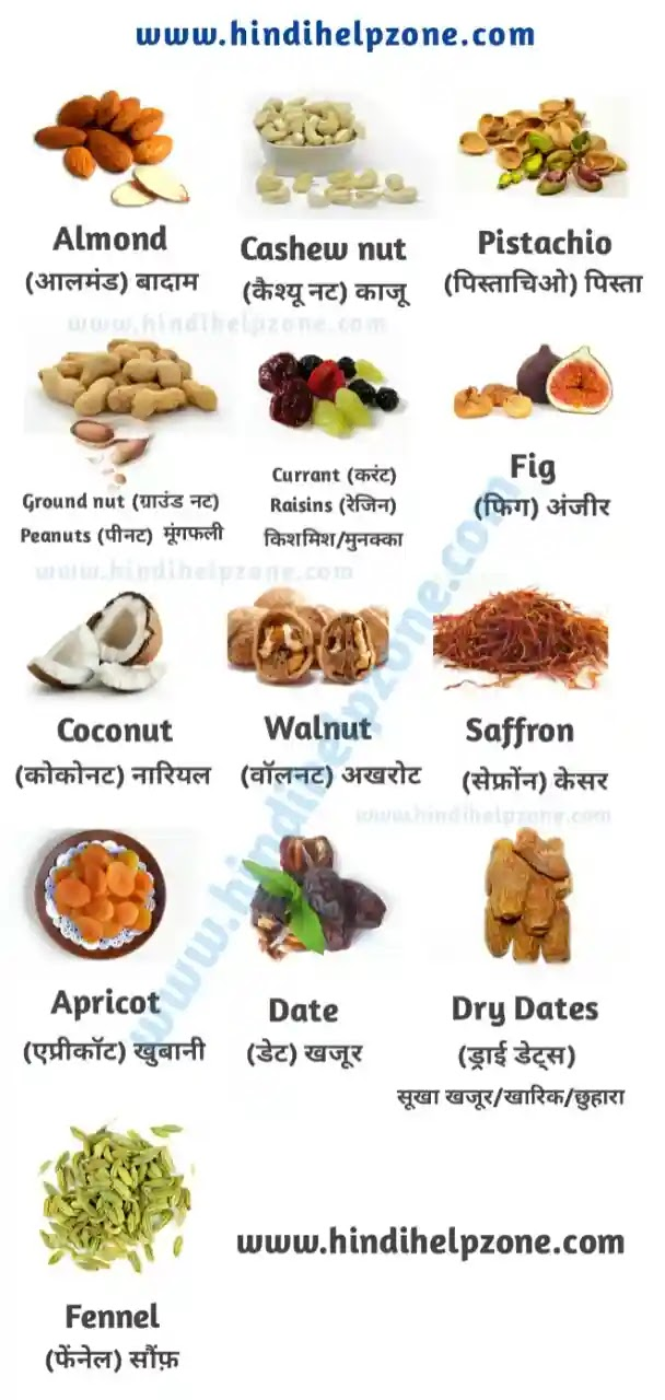 All Dry Fruits Name list In Hindi and English with pictures - (pdf)