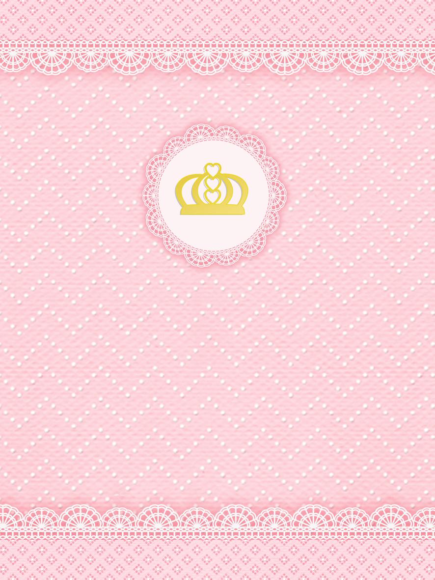 Corona Dorada Y Encaje Rosa Invitaciones Para Imprimir