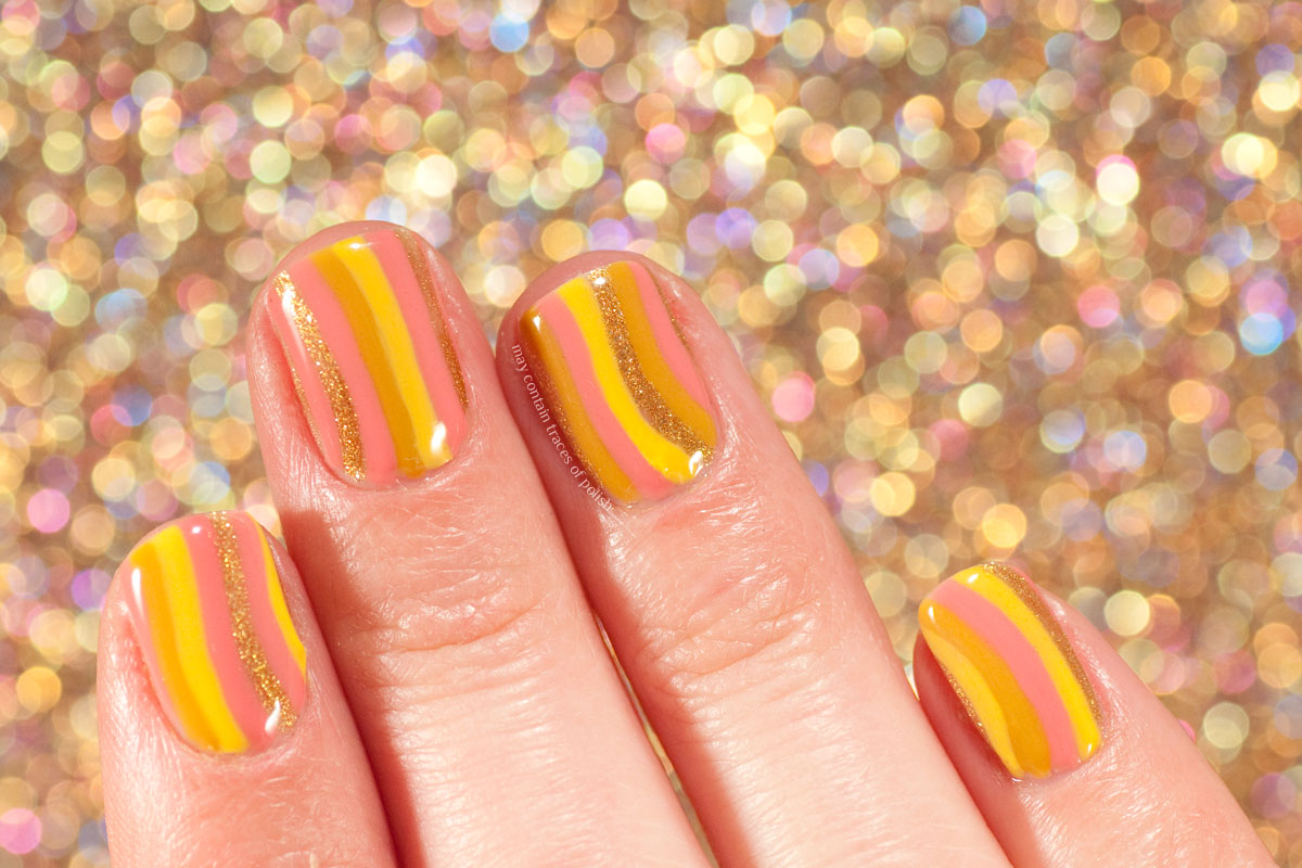 Striped Gel Nails with Pink Gellac Safari and Devotion
