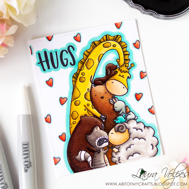 All Occasion One Layer Handmade Card feat Waffle Flower Hugs and Nuvo Markers