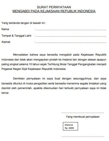 gambar contoh surat pernyataan mengabdi pada kejaksaan Ri