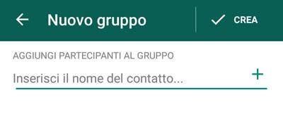 creazione gruppo WhatsApp