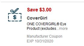 """$3.00/1 Covergirl Eye product Coupon from """"SMARTSOURCE"""" insert week of 10/25/20."""