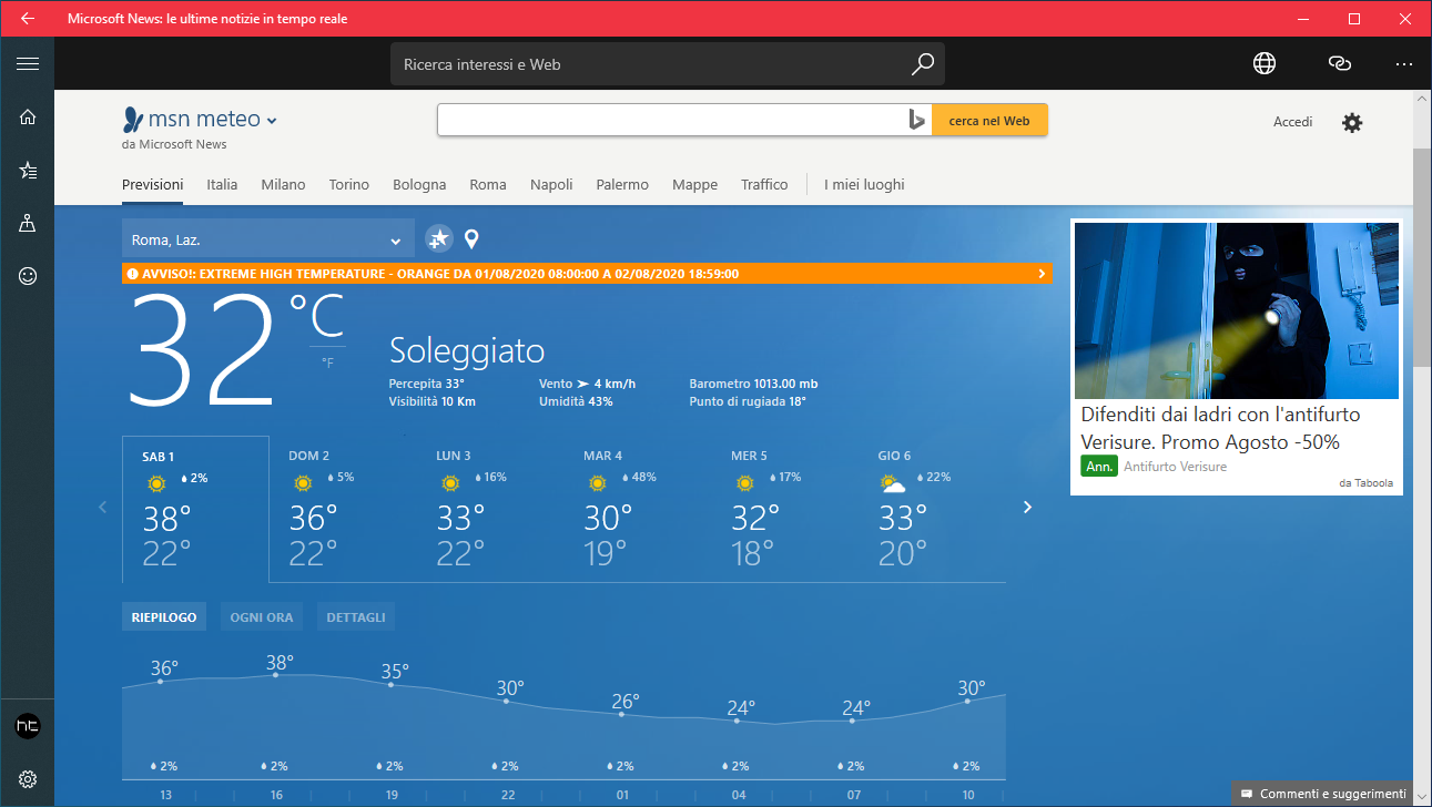 Microsoft News per Windows 10 ottiene l'integrazione di Meteo