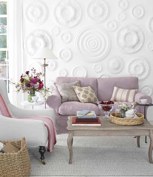 Decoraci n f cil decorar las paredes con rosetones de for Decoracion para la pared del sofa
