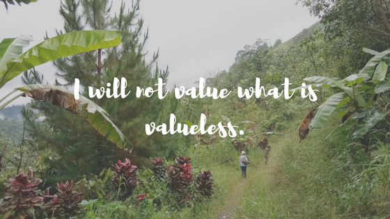 I will not value what is valueless.