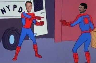 Bolsonaro y Moro disfrazados como el hombre araña