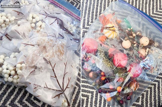 using clear Ziplock bags to store seasonal decor