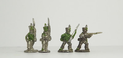 Light infantry, in march attack and firing poses: