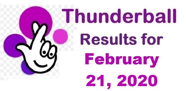 Thunderball Results for Friday, February 21, 2020