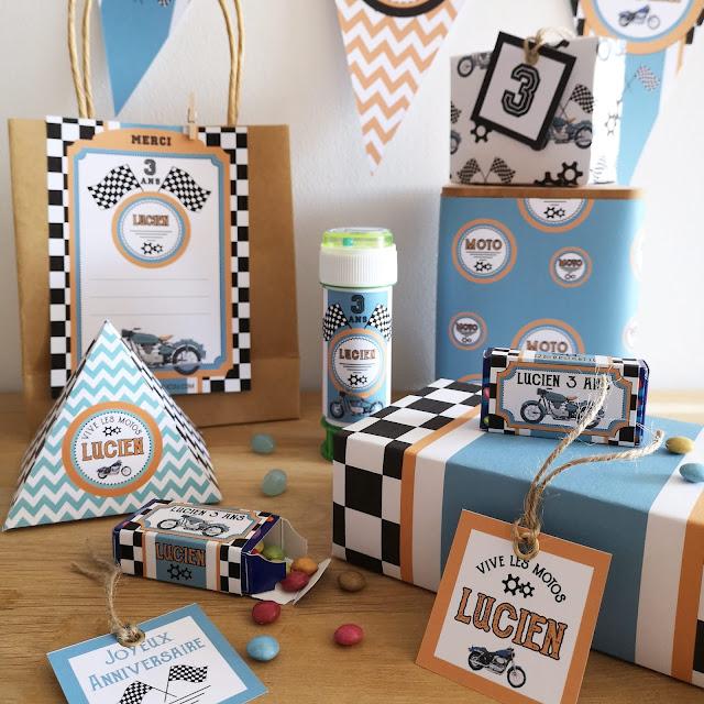 Kit anniversaire personnalisé thème moto garçon à imprimer tête de coucou cadeaux invités organisation fête bonbons banderole