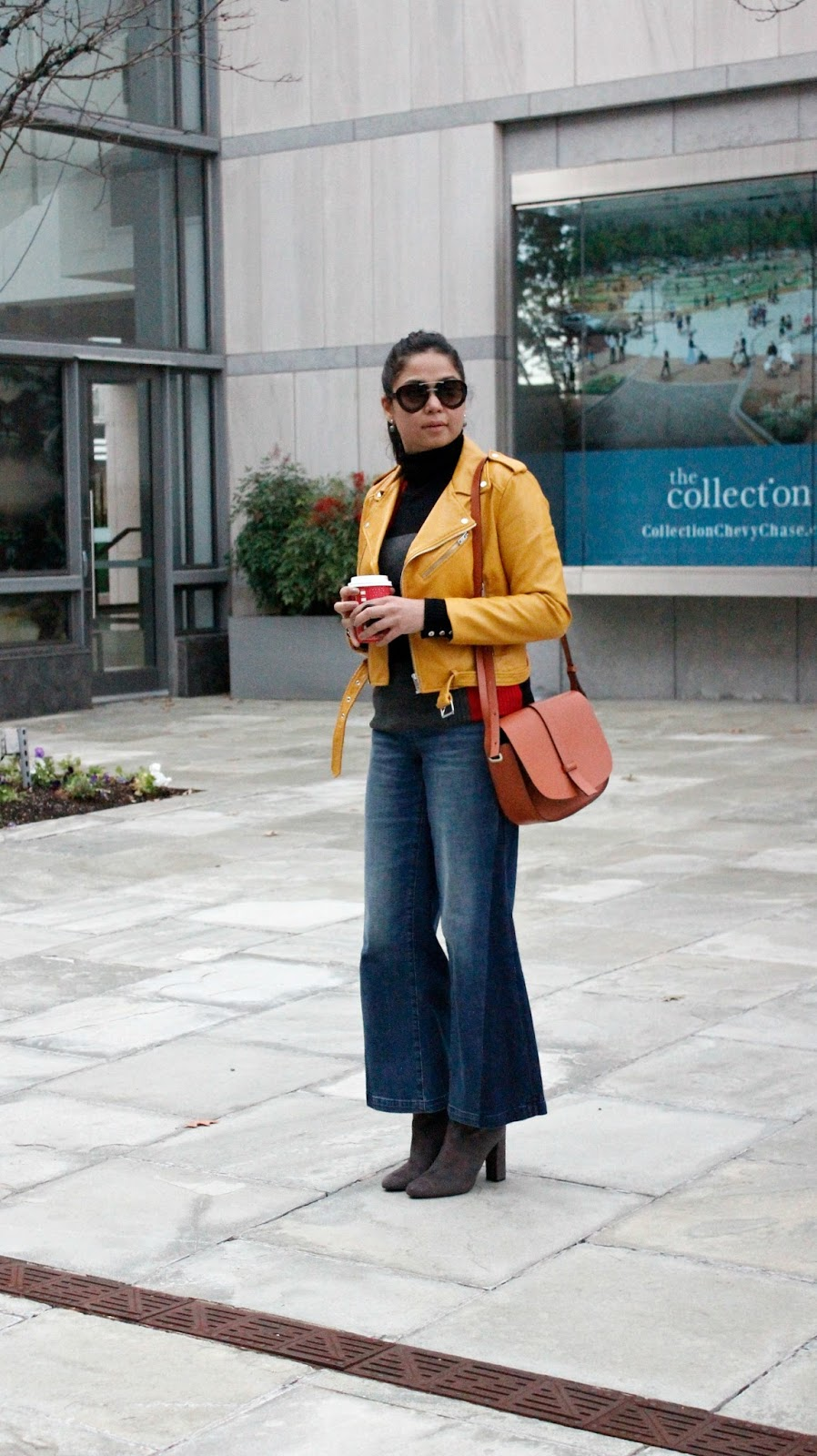 gap wide leg jeans, zara jacket, turtleneck , steve madden boots