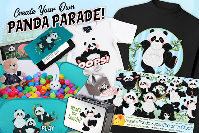 Create your own Panda Bear parade with Annie Lang's warm and fuzzy character clipart