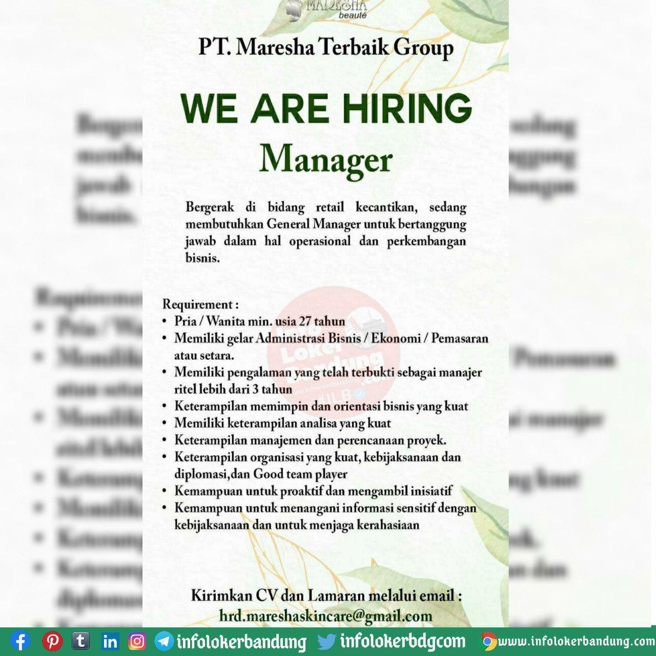 Lowongan Kerja PT. Maresha Terbaik Group Bandung Oktober 2020