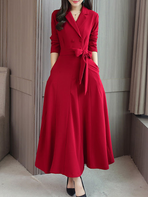 Fold-Over Collar Double Breasted Patch Pocket Plain Maxi Dress Red