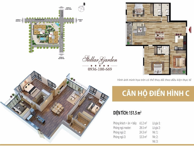 Mặt bằng căn hộ 151,5m2 Chung cư Stellar Garden 35 Lê Văn Thiêm