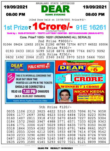 Nagaland State Lottery Result 19.9.2021