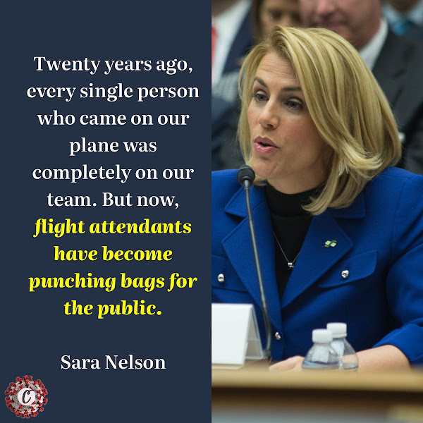Twenty years ago, every single person who came on our plane was completely on our team. But now, flight attendants have become punching bags for the public. — Sara Nelson, president of the Association of Flight Attendants union
