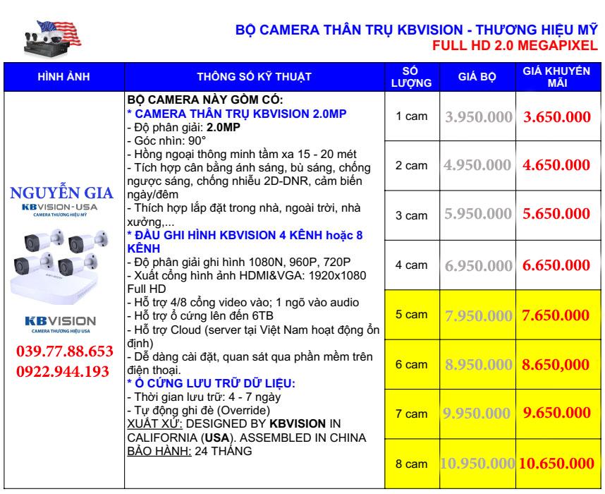 giá lắp đặt camera kbvision tại tphcm