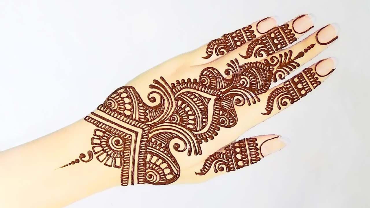 Beautiful Back Hand Mehndi design for Rakhi