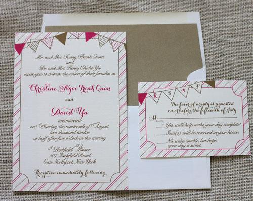 Bunting Wedding Invite: Blush Paperie: Bunting Wedding Invitation Suite