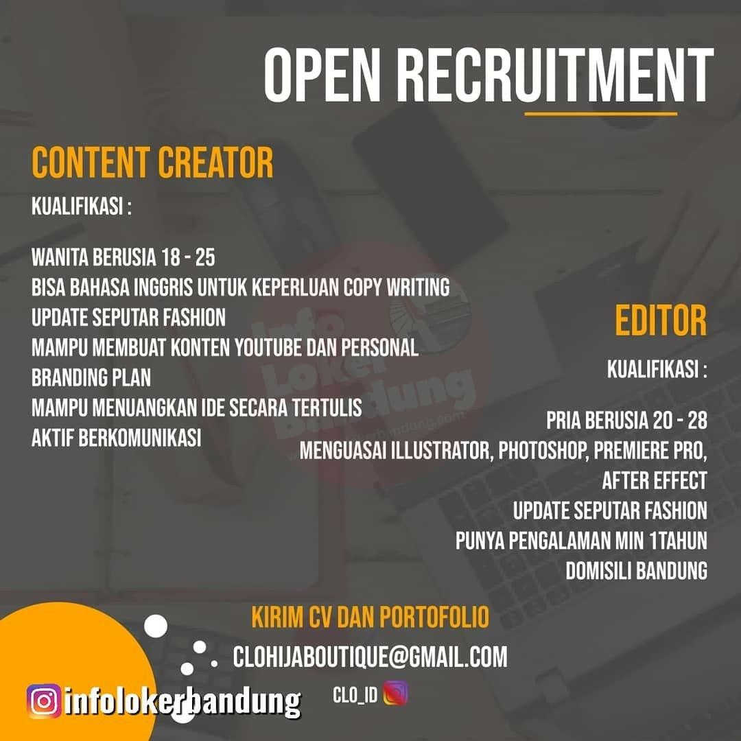 Lowongan Kerja Content Creator Clo Hijab Boutique Bandung Februari 2020
