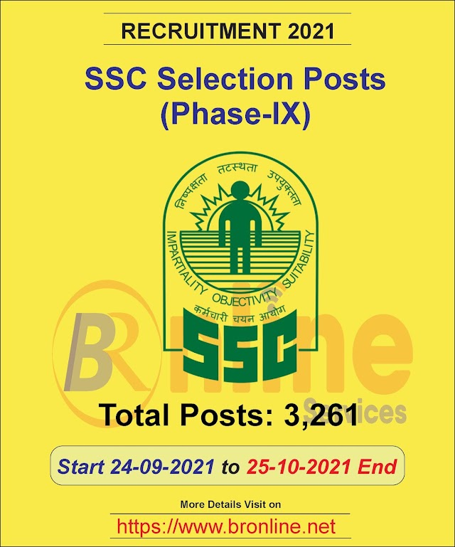 SSC Selection Posts (Phase-IX) Recruitment 2021 Total Post | 3261