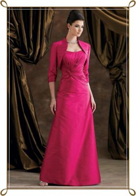 Robe de Soirée pour Mariage A-ligne Sans Bretelles en Fuchsia Satin #FP168