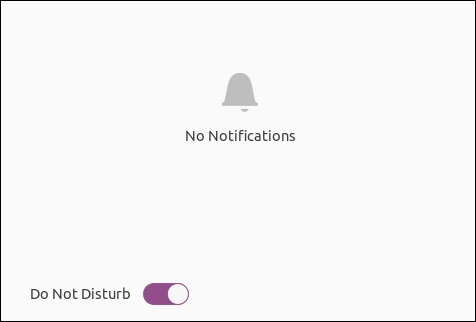 تُظهر منطقة إعلام Ubuntu 20.04 التبديل العام في وضع الإيقاف للإشعارات