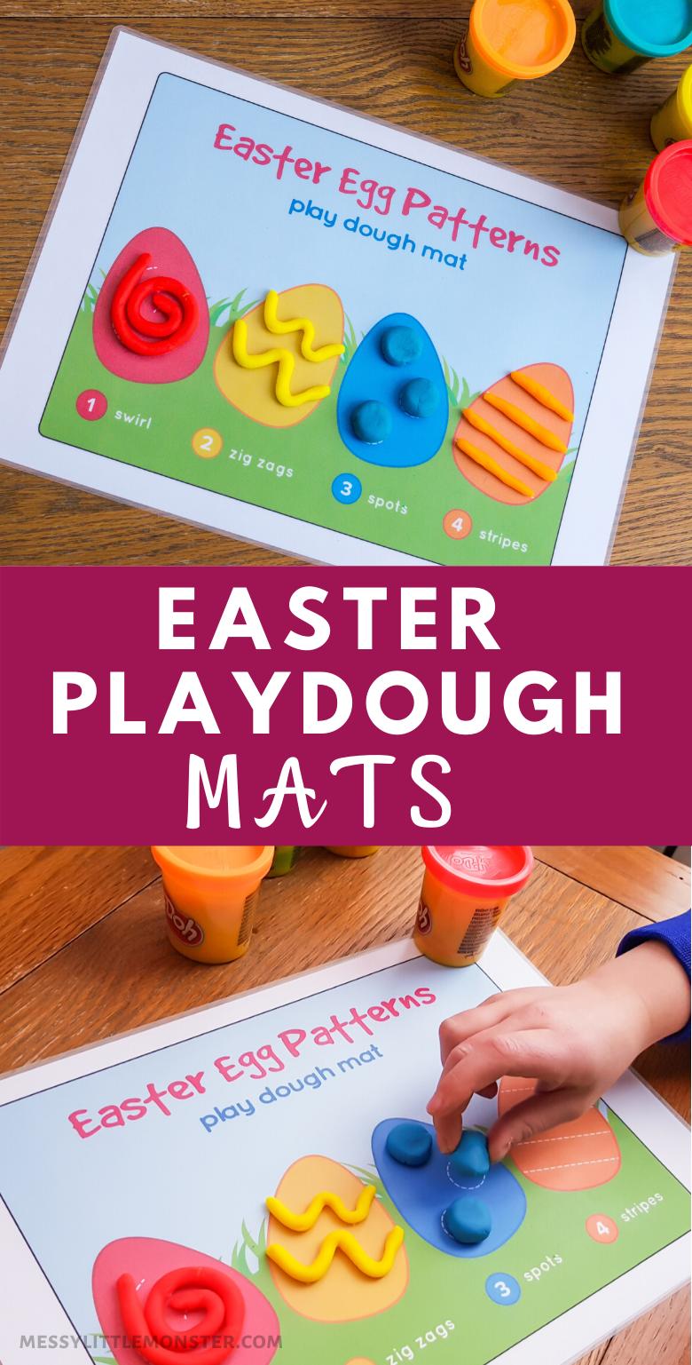 Printable Easter Playdough Mat. An easy Easter activity for kids.