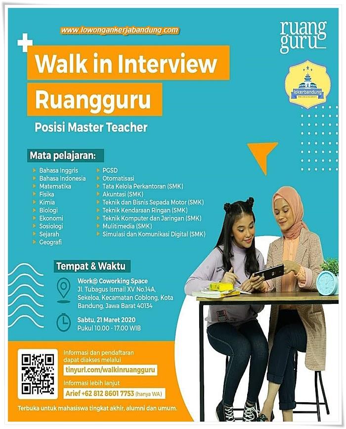 Loker Bandung Master Teacher Ruang Guru