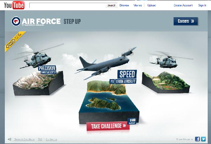 online retailer 61643 0c131 Royal New Zealand Air Force YouTube Game Ad Campaign