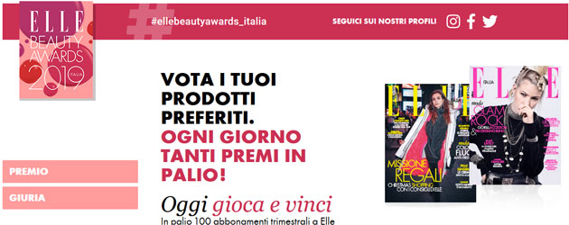 Concorso Elle Beauty Awards 2019