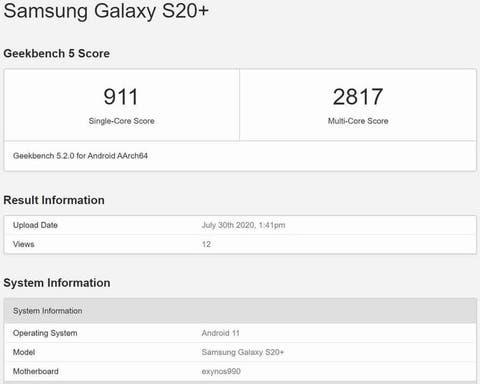 Samsung Galaxy S20 + Uji Coba Android 11