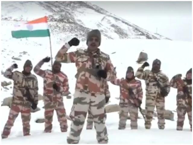 भारत-तिब्बत सीमा पुलिस के जवानों ने माइनस 25 डिग्री में मनाया गणतंत्र दिवस
