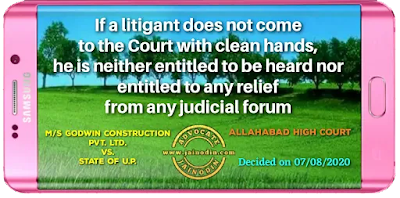 If a litigant does not come to the Court with clean hands, he is neither entitled to be heard nor entitled to any relief from any judicial forum