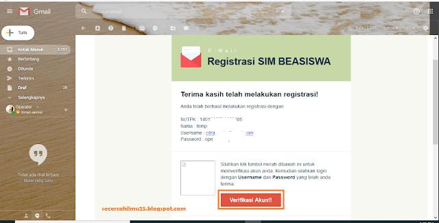 kotak masuk dari SIM_BEASISWA registrasi di BANPEM berhasil