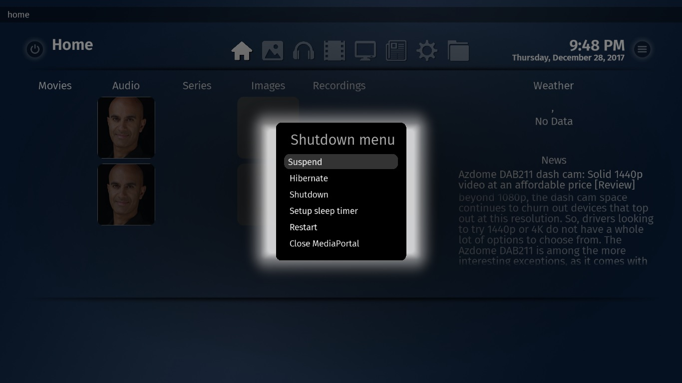Shutdown media server medaportal mediacenter