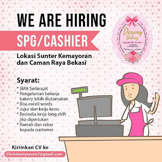 Info Lowongan Kerja SPG Kasir Doremi Bakery Jakarta Bekasi