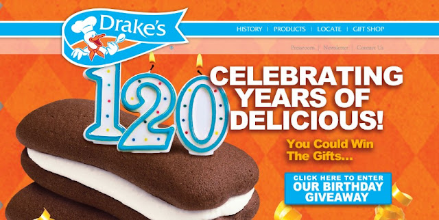 Drake's Cakes is proudly celebrating their 120th birthday and they are giving presents away! Enter to win a Winnebago road trip, gift cards, snack cakes, Thermos products and more!