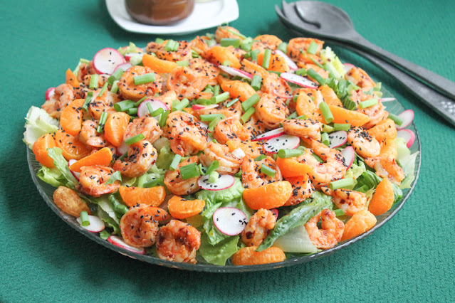 Food Lust People Love: This Spicy Shrimp and Citrus Salad is tasty and fresh with an Asian-influenced dressing for the salad and garlic chili oil marinade for the shrimp.