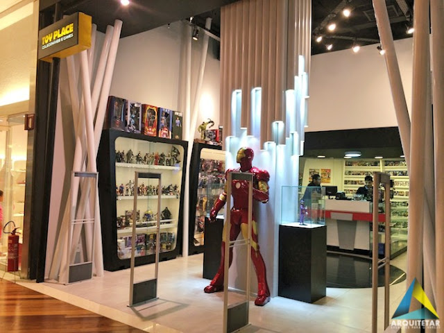 projeto arquitetura frente loja iluminação decoração interior loja games brinquedos colecionáveis geek nerd