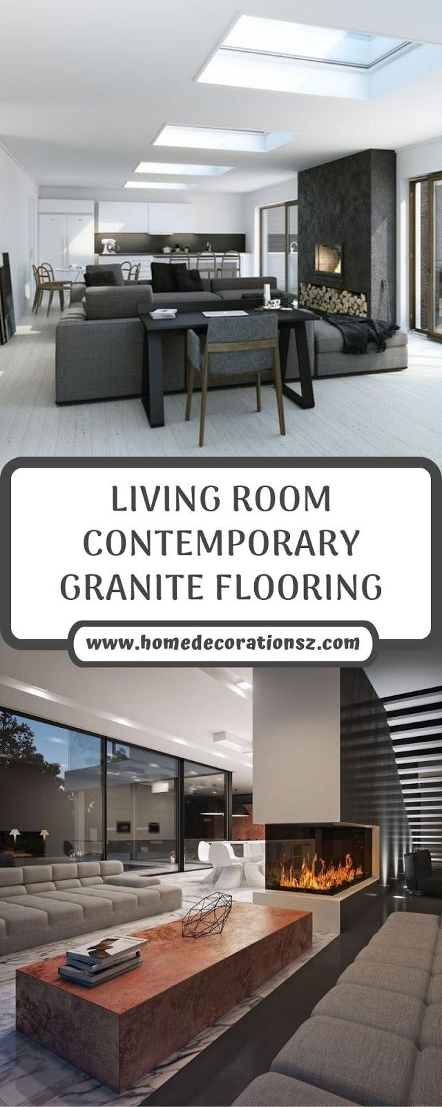 LIVING ROOM CONTEMPORARY GRANITE FLOORING