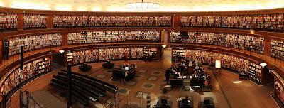 Semicircular library, bookshelves, reading desks