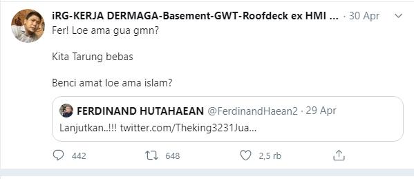 Ferdinand telah ikut memprovokasi ajakan perang terhadap umat Islam