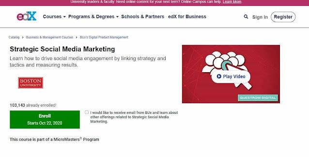 دورة التسويق الاستراتيجي عبر السوشيال ميديا من موقع edx