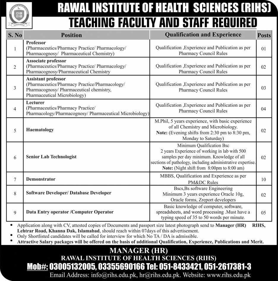 Jobs in Rawal Institute of Health Sciences