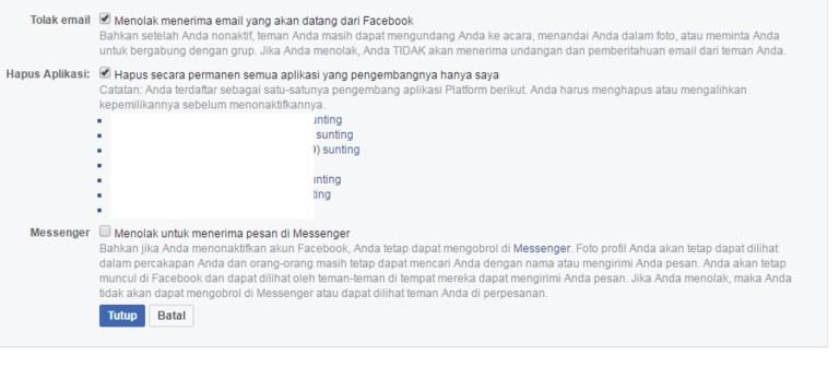 Menonaktifkan akun facebook sementara