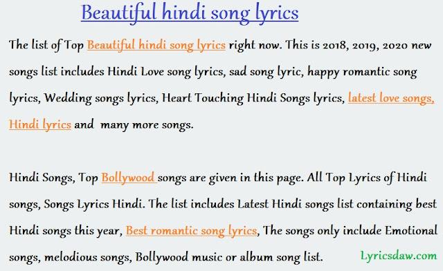 Beautiful hindi song lyrics