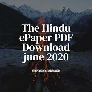 The Hindu ePaper PDF Download june 2020